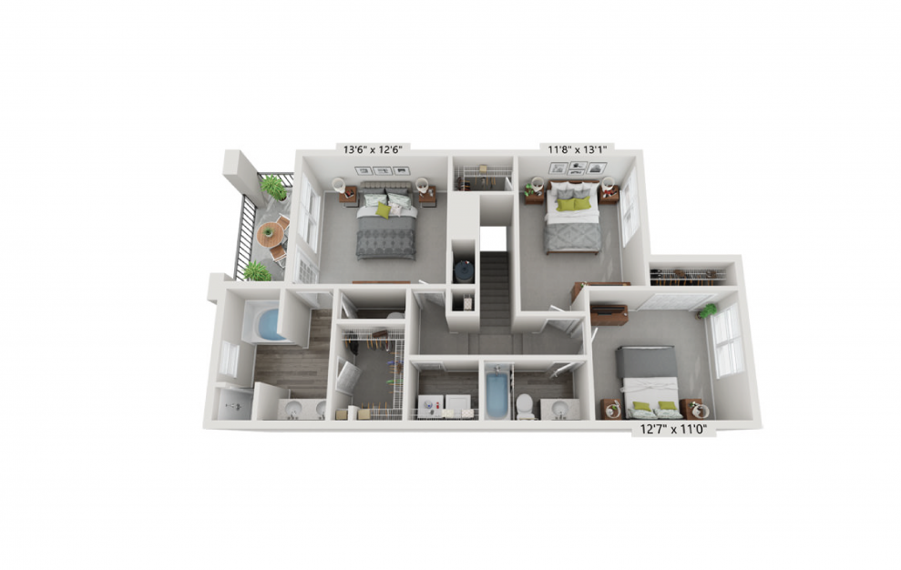 Luxury apartment layout with three bedrooms and 2 baths at Aspire Lenox Park Apartments in North Atlanta