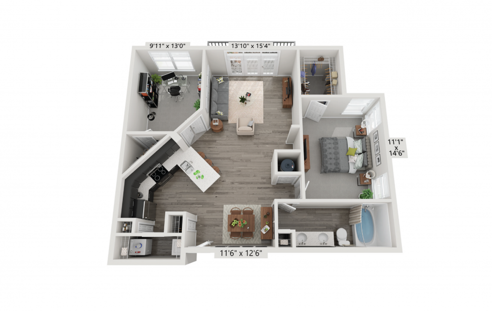 The Maximilian - 2 bedroom floorplan layout with 1 bath and 1057 square feet.
