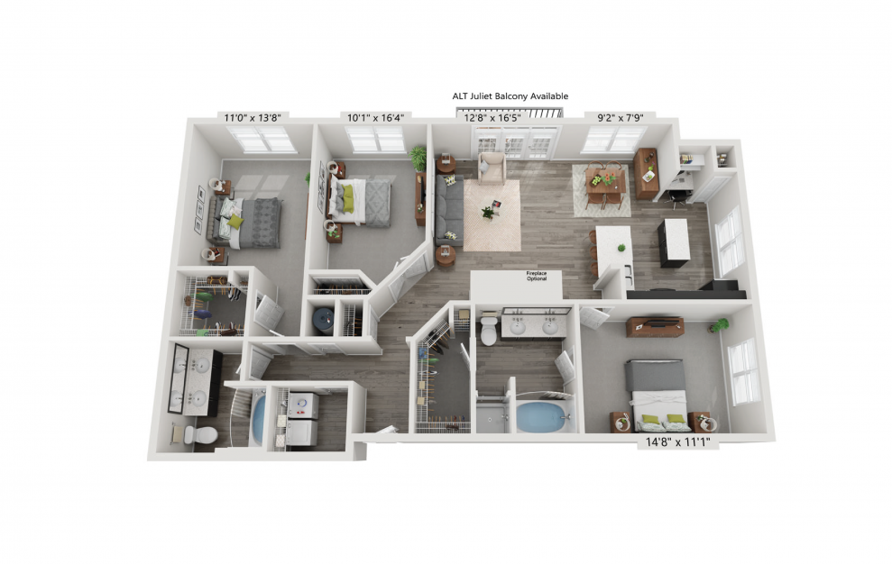 The Parisian - 3 bedroom floorplan layout with 2 baths and 1447 square feet.