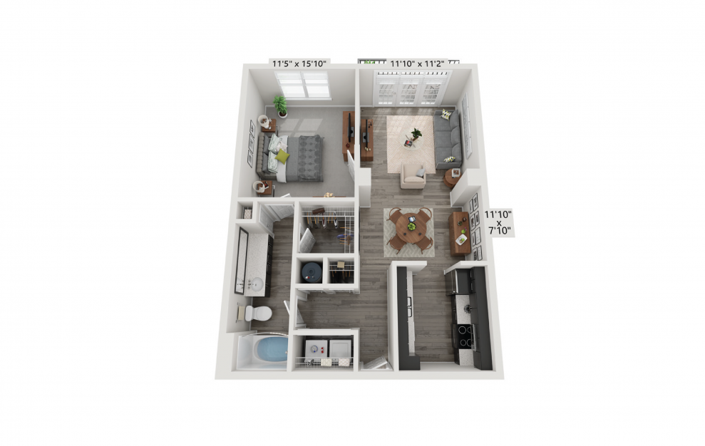 The Renaissance - 1 bedroom floorplan layout with 1 bath and 745 square feet.