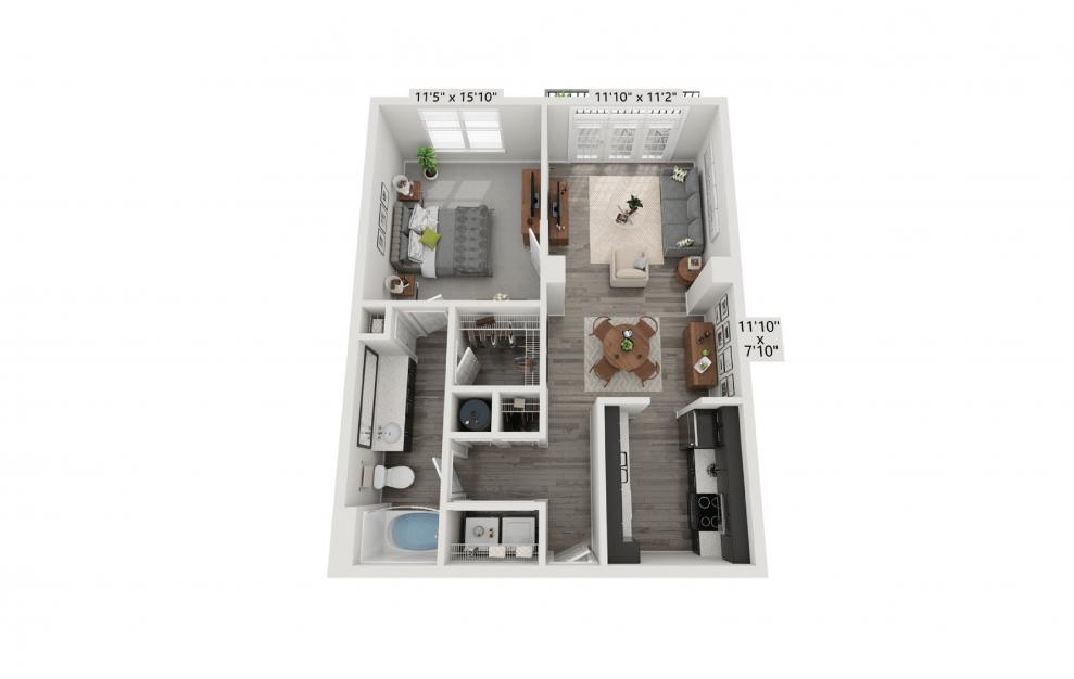 Rendering of The Renaissance layout , 1 Bed | 1 Bath | 745 sq. ft. at Aspire Lenox Park Apartments in North Atlanta
