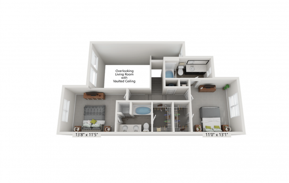 The Savoy - 2 bedroom floorplan layout with 2.5 baths and 1692 square feet. (Floor 2)