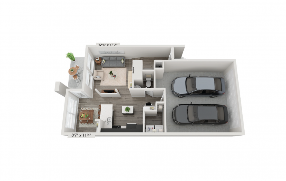 The Savoy - 2 bedroom floorplan layout with 2.5 baths and 1692 square feet. (Floor 1)
