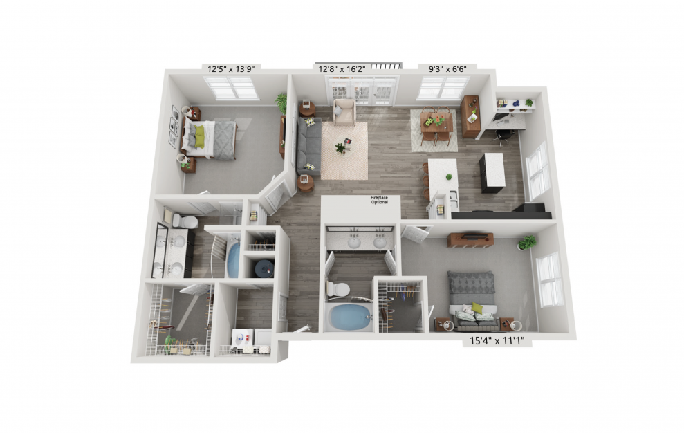 The Stratford - 2 bedroom floorplan layout with 2 baths and 1208 square feet.